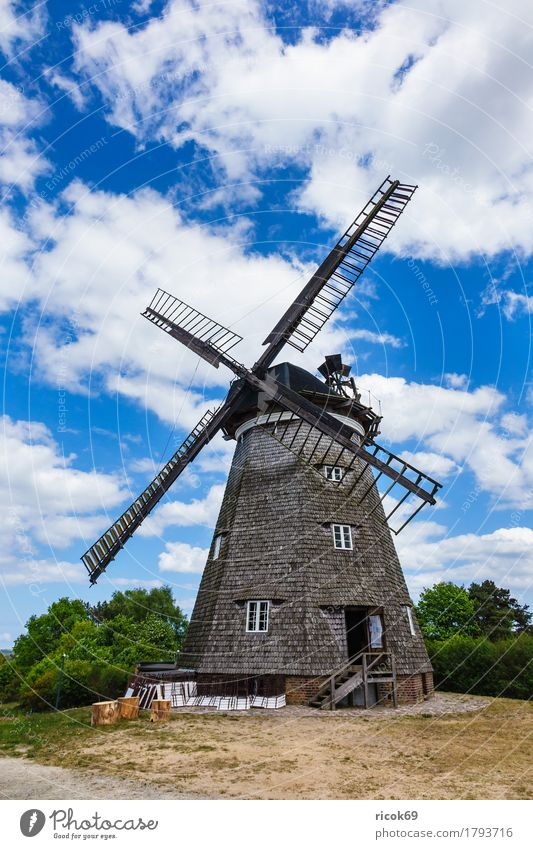 The windmill in Benz on the island of Usedom Relaxation Vacation & Travel Tourism Agriculture Forestry Clouds Tree Architecture Tourist Attraction Landmark Blue