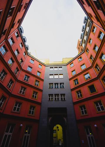 afterwards backyard Architecture Downtown Berlin Town house (City: Block of flats) Facade Backyard Exceptional Tall Modern Red Agreed Style Symmetry