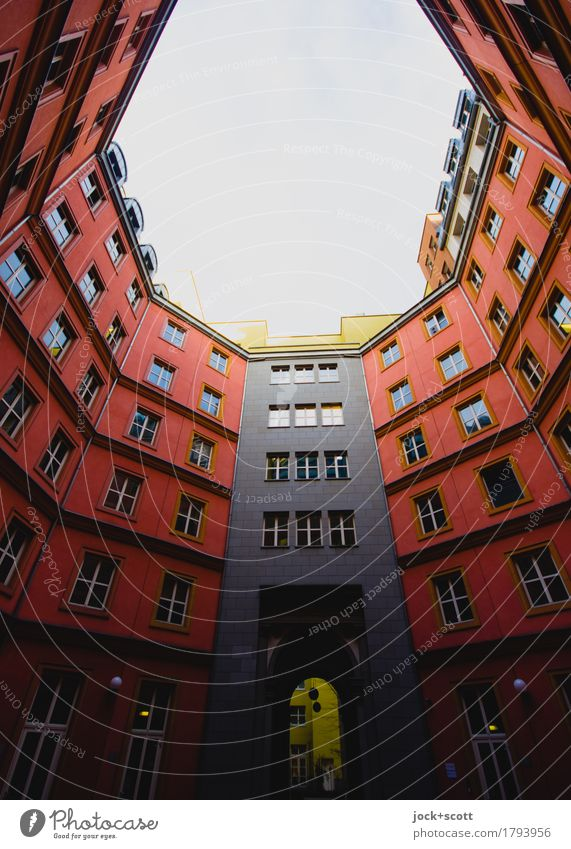Outdoor indoor Town Red Window Architecture Style Building Facade Modern Downtown Downtown Berlin Backyard Symmetry