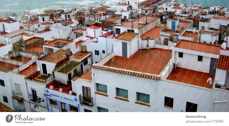 above the roofs Colour photo Exterior shot Deserted Day Light Shadow Contrast Bird's-eye view Environment Water Summer Weather Bad weather Waves Coast Ocean
