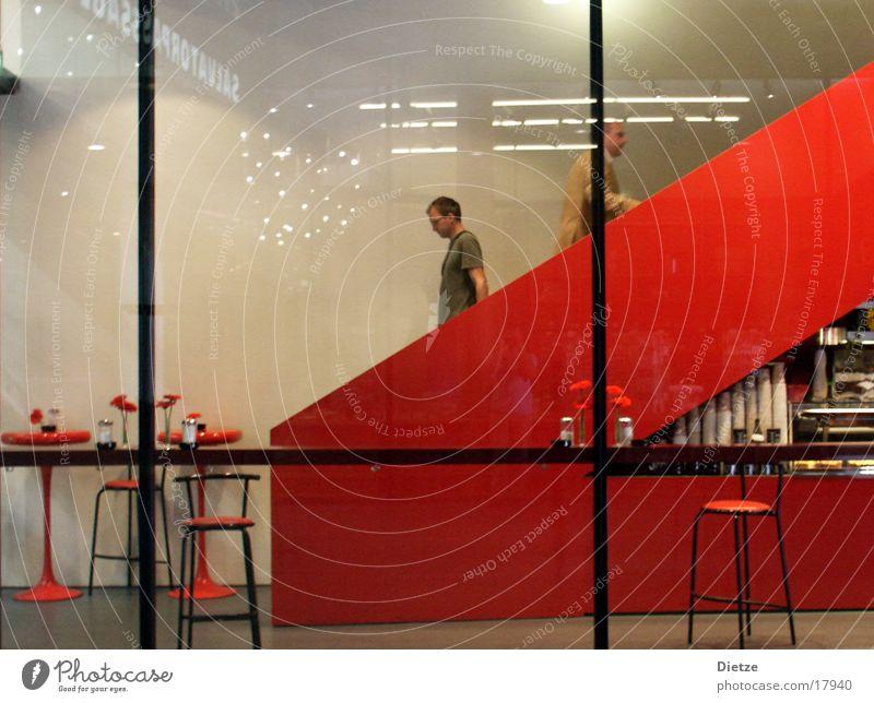 Red Architecture Stairs Bar Interior design Café Escalator Stool