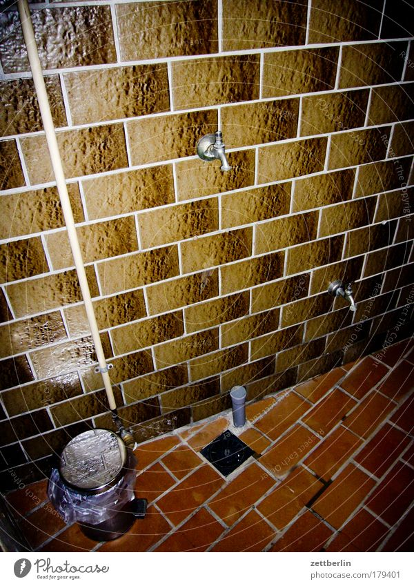 shower house Tile wall tiles Washhouse Shower (Installation) Shower room Body care tools Clean Tap Water Hostel Camping site Interior design Trash
