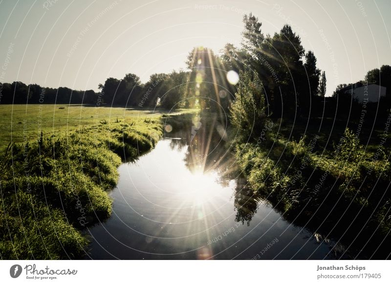 double sun Environment Nature Landscape Water Sun Climate Beautiful weather Meadow River Dream Glittering Blue Green Puzzle Double exposure In pairs Light