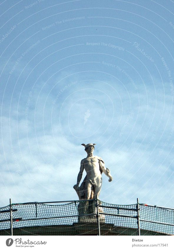 Hermes in departure Statue Roof Scaffold Man Classicism Naked Fence messenger of the gods Sky Handrail