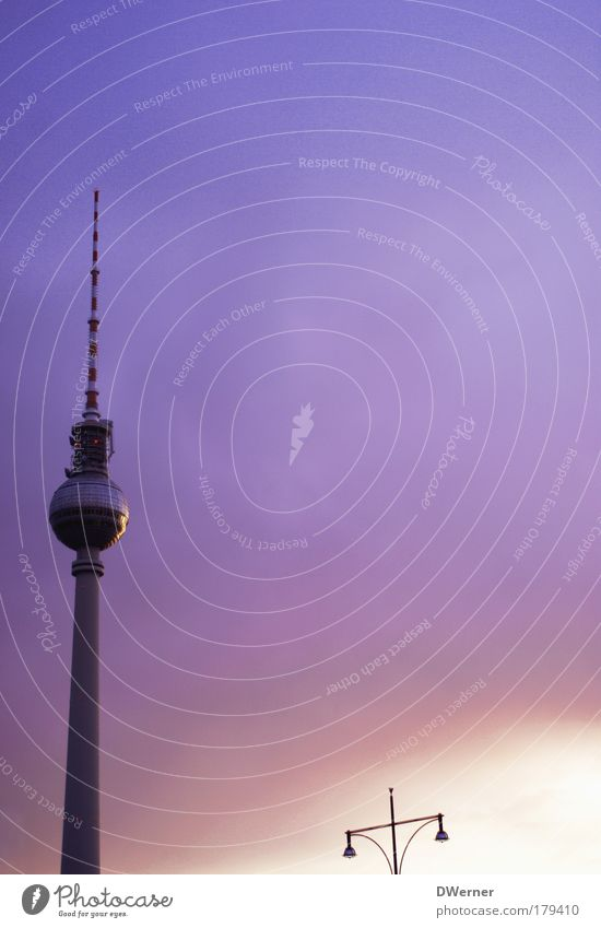Television tower with lighting Elegant Tourism Sightseeing City trip Dream house TV set Sky Night sky Capital city Tower Manmade structures Architecture Antenna
