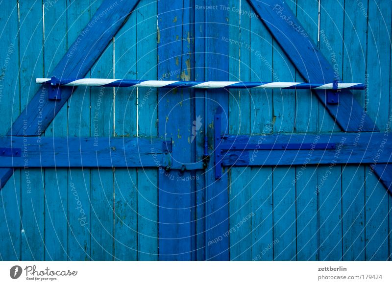 Blue Wood Closed Safety Gate Agriculture Farm Entrance Lock Captured Barrier Way out Passage Sky blue Locking bar Access