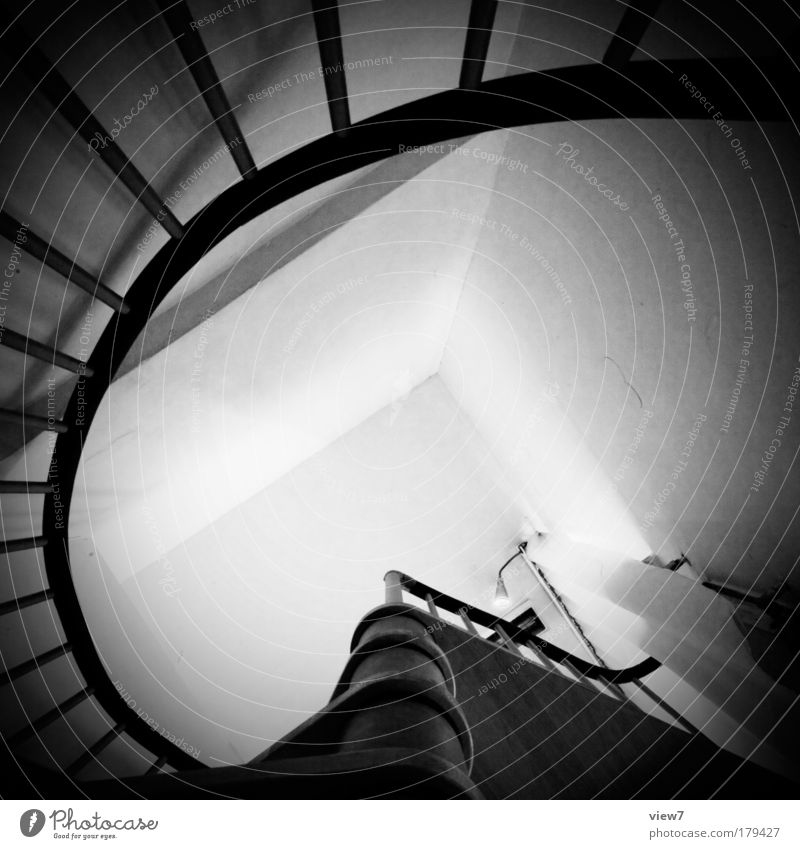 spiral staircase Black & white photo Interior shot Detail Deserted Light Deep depth of field Flat (apartment) Arrange Interior design Decoration Wallpaper Room