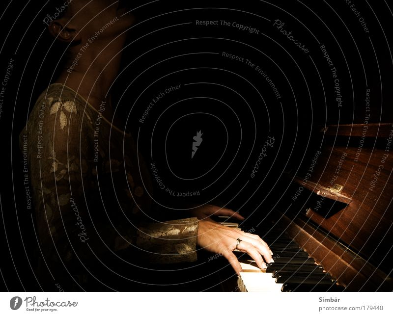 Woman Human being Hand Black Dark Feminine Emotions Playing Music Moody Adults Fingers Leisure and hobbies Make music Piano Euphoria