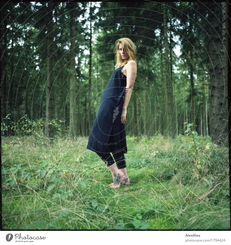 makes a wave! Lifestyle Beautiful Vacation & Travel Adventure Young woman Youth (Young adults) Beautiful weather Tree Bushes Moss Forest Dress Barefoot