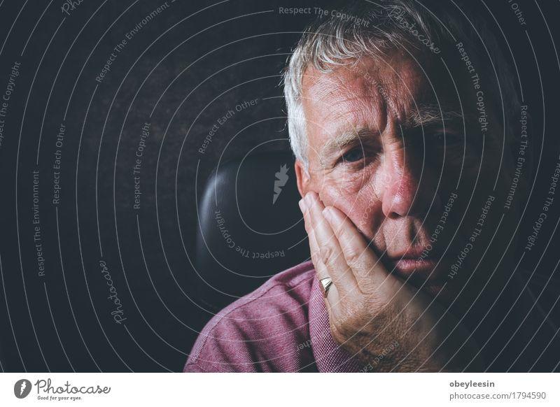 sad senior Profession Human being Masculine Man Adults Male senior Father Grandfather Senior citizen 1 Stress Colour photo Interior shot Copy Space left Day