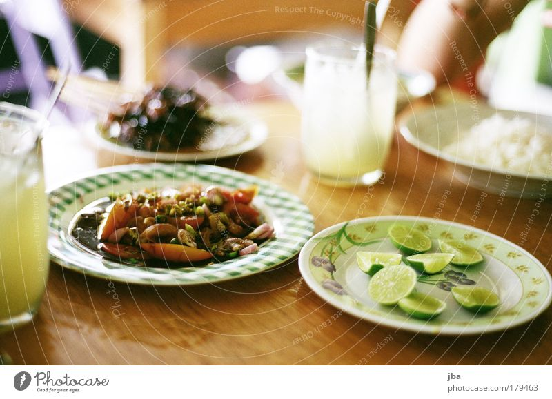 Sate Kambing Colour photo Close-up Deep depth of field Food Meat Lime E flat Jeruk Lunch Asian Food Beverage Plate Glass Vacation & Travel Summer
