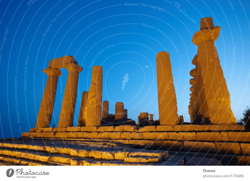 Sky Blue Heaven Architecture Building Orange Manmade structures Italy Ruin Column Destruction Ancient Greece Temple World heritage