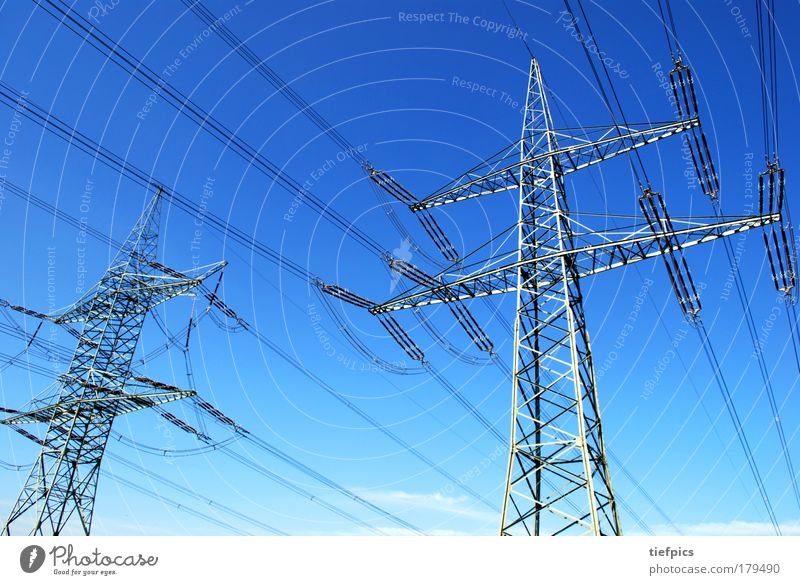 Sky Blue Energy industry Electricity Future Technology Clean Beautiful weather Electricity pylon Blue sky High voltage power line Advancement Industrial plant Gigantic High-tech Renewable energy