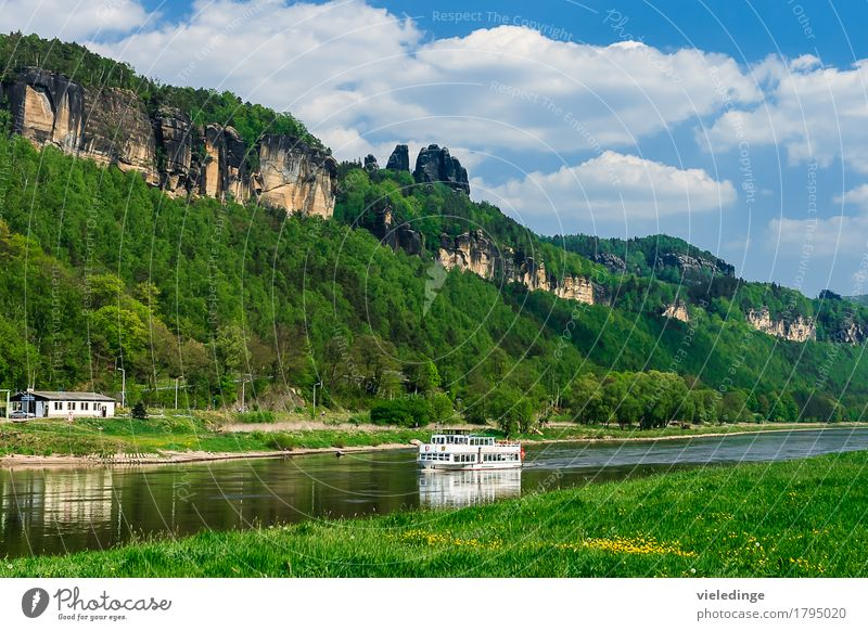 Schrammsteine with Elbe steamer Vacation & Travel Tourism Trip Summer Mountain Nature Landscape Sky Clouds Meadow Rock River Tourist Attraction Passenger ship