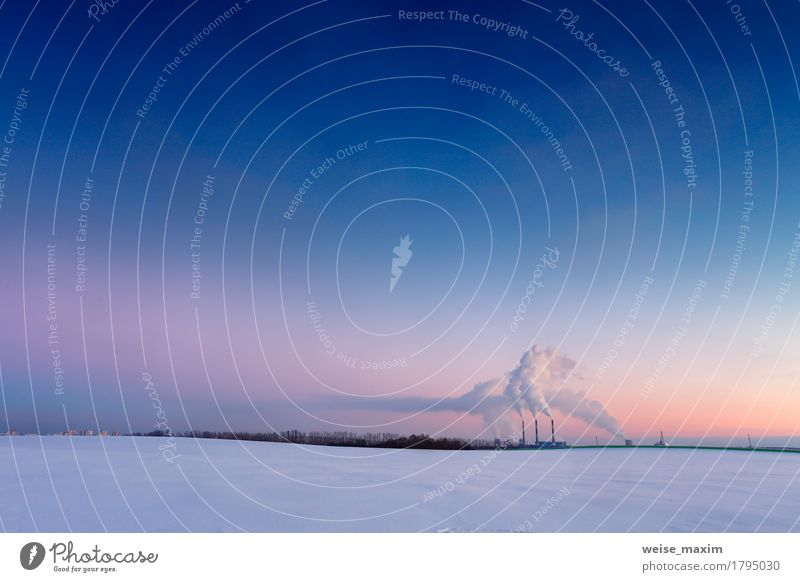 Power plant in the evening Sky Nature City Blue White Landscape Red Winter Environment Meadow Snow Building Field Energy industry Vantage point Europe