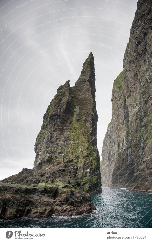Landscape on the Faroe Islands Vacation & Travel Adventure Ocean Mountain Nature Clouds Grass Meadow Rock Stone Natural Gray Green Emotions intense Dramatic