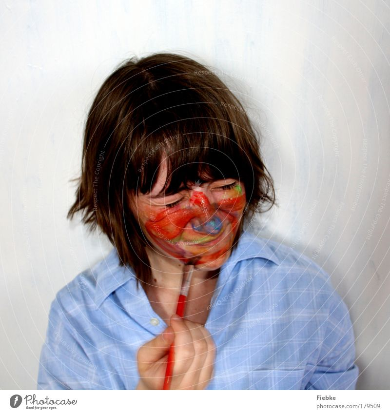 color study Colour photo Multicoloured Interior shot Copy Space top Portrait photograph Front view Downward Closed eyes Make-up Leisure and hobbies Playing