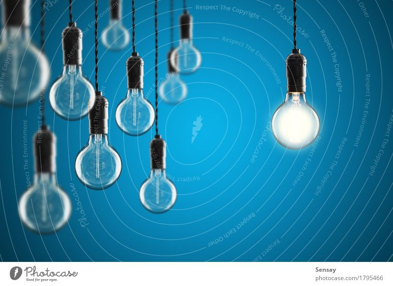 Idea and leadership concept Old Blue Colour Yellow Lamp Design Bright Creativity Success Technology Energy Symbols and metaphors Science & Research Transparent