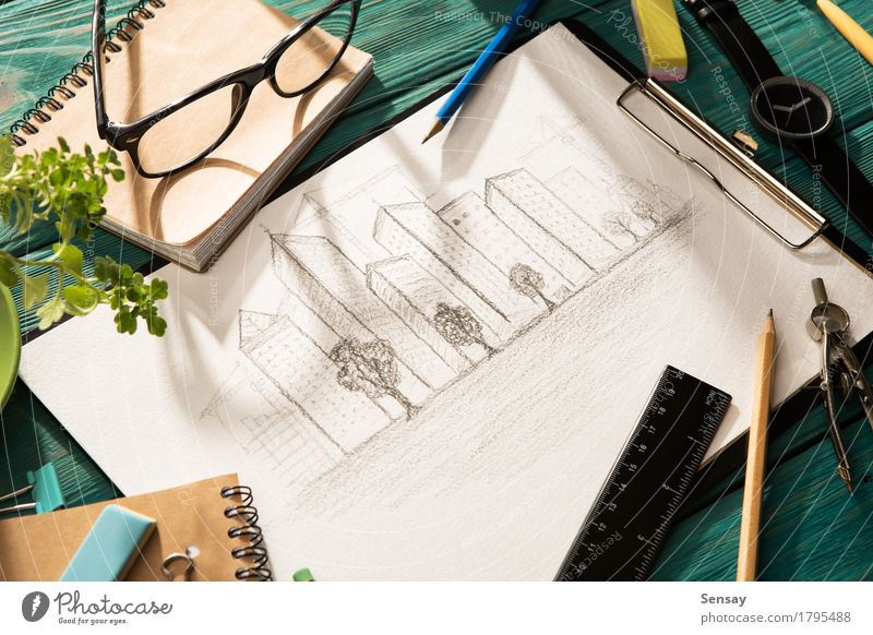 Real estate concept - sketch of architecture on the desk City Plant Blue White Tree House (Residential Structure) Architecture Building Business Design