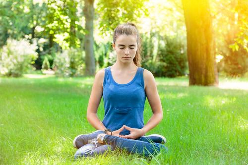 meditation Lifestyle Beautiful Healthy Wellness Harmonious Senses Relaxation Meditation Summer Yoga Human being Feminine Young woman Youth (Young adults) Woman
