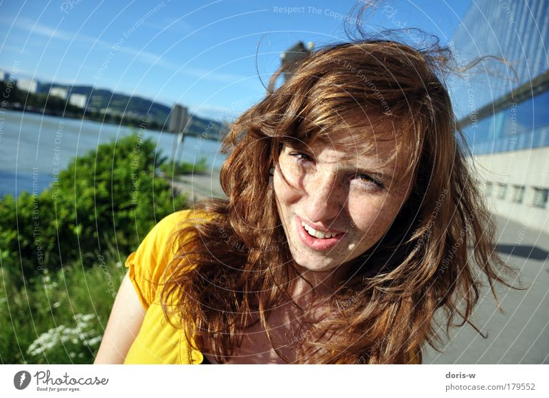 Woman Human being Youth (Young adults) Green Blue Beautiful Sun Red Joy Summer Face Yellow Feminine Hair and hairstyles Laughter
