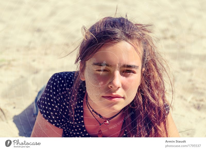 Tired on the beach Lifestyle Joy Beautiful Face Relaxation Calm Vacation & Travel Tourism Summer vacation Beach Human being Feminine Young woman