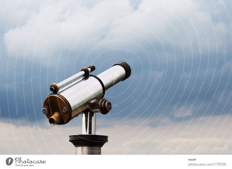 are you looking Leisure and hobbies Far-off places Freedom Sightseeing Sky Clouds Weather Binoculars Telescope Metal Observe Glittering Blue Longing Wanderlust