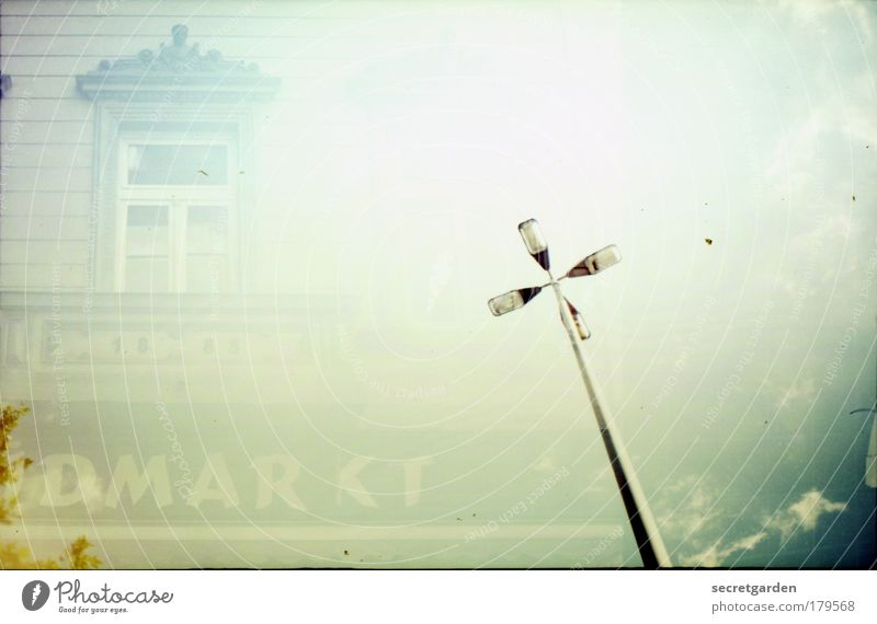 analogue market light Colour photo Subdued colour Exterior shot Experimental Lomography Deserted Copy Space right Copy Space top Neutral Background Dawn Day
