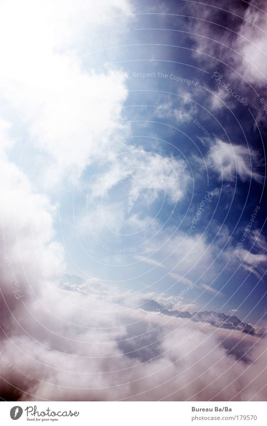 cloud walk Exterior shot Day Wide angle Clouds Blue White Freedom Mountain Switzerland Bernese Oberland Flying Airplane