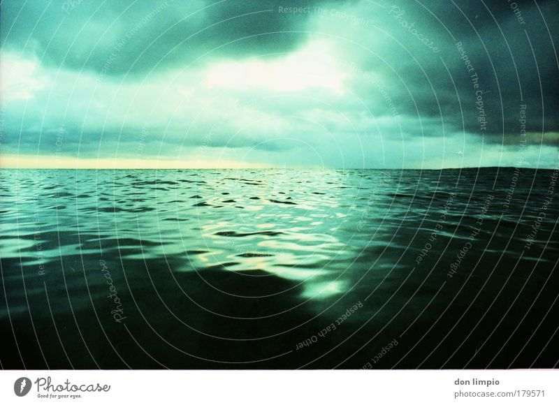 Green Ocean Clouds Waves Infinity Analog Surrealism Water Reflection Cross processing