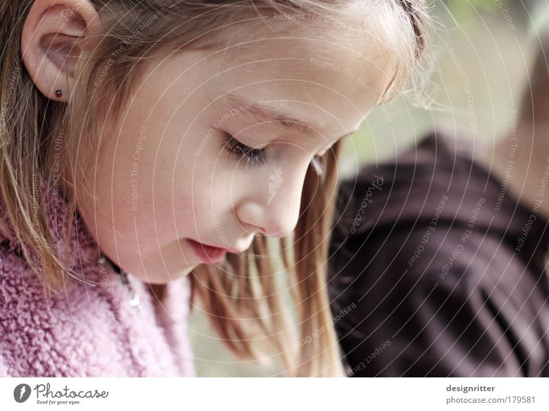 Child Girl Beautiful Face Calm Autumn Hair and hairstyles Dream Head Think Mouth Contentment Nose Weather Safety