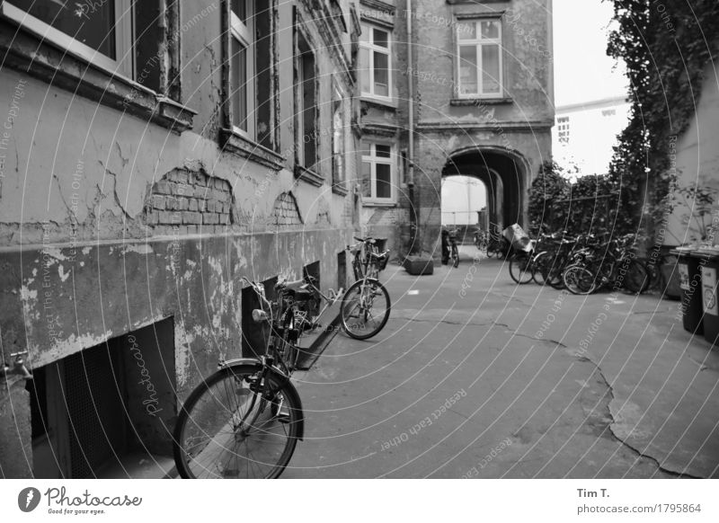 Backyard Berlin Prenzlauer Berg House (Residential Structure) Bicycle Decline Past Transience Courtyard Passage Black & white photo Exterior shot Deserted Day