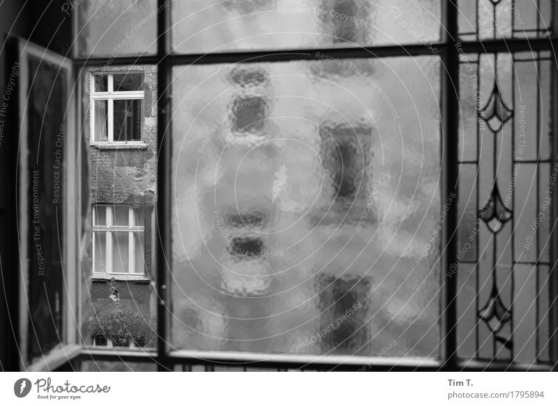 Backyard Berlin Prenzlauer Berg Town Capital city Downtown Old town Window Stagnating View from a window Black & white photo Exterior shot Interior shot