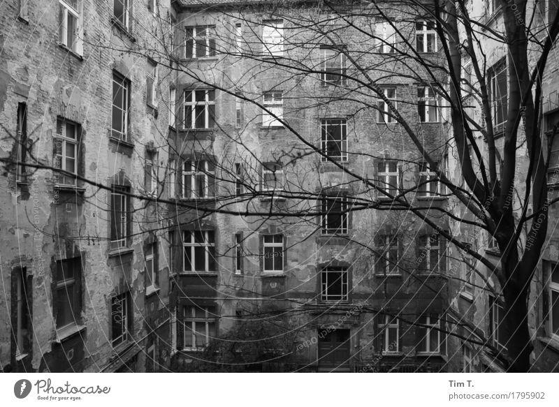 Backyard Berlin Prenzlauer Berg Town Capital city Downtown Old town Facade Window Senior citizen Stagnating Courtyard Black & white photo Exterior shot Deserted