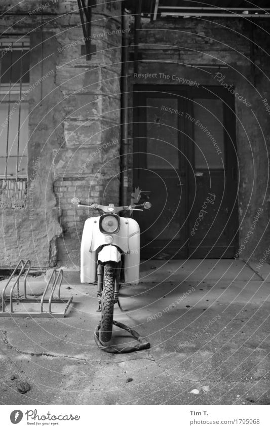 Backyard Berlin Prenzlauer Berg Town Capital city Downtown Old town Deserted Decline Past Transience Lose Scooter Door East Black & white photo Exterior shot