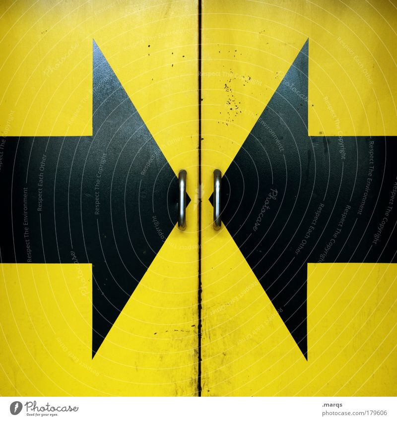 Open Here Colour photo Industry Logistics Door Metal Sign Arrow Yellow Black Center point Safety Symmetry Closed Central Mysterious Surprise Portal Entrance
