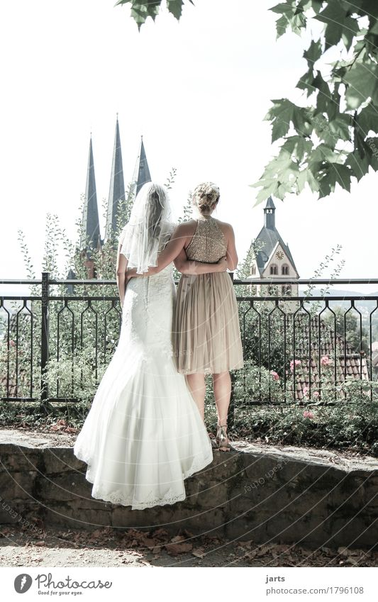 best friend Wedding Human being Feminine Friendship Couple 2 18 - 30 years Youth (Young adults) Adults Old town Skyline Church Tower Stand Embrace Authentic