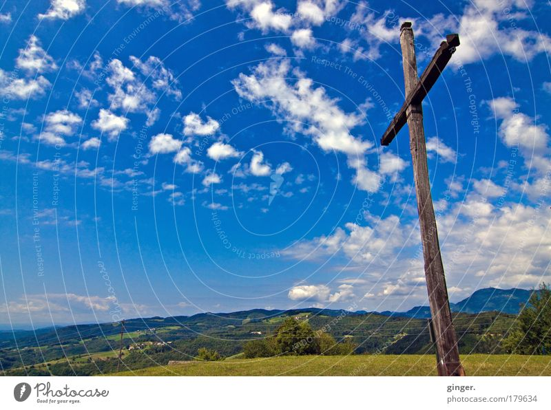 Sky Summer Clouds Landscape Relaxation Far-off places Mountain Religion and faith Horizon Moody Power Idyll Beautiful weather Hope Sign Hill