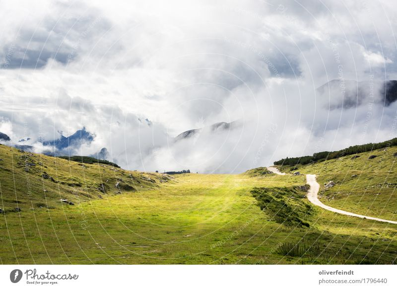 Sky Nature Vacation & Travel Beautiful Green Landscape Clouds Far-off places Mountain Environment Lanes & trails Meadow Grass Freedom Rock Horizon