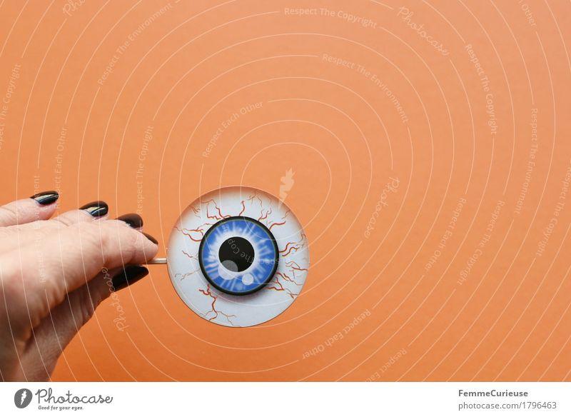 Blue Hand Black Eyes Orange Observe Paper Creepy Cardboard Vessel Hallowe'en Vision Pupil Scare Nail polish Monitoring