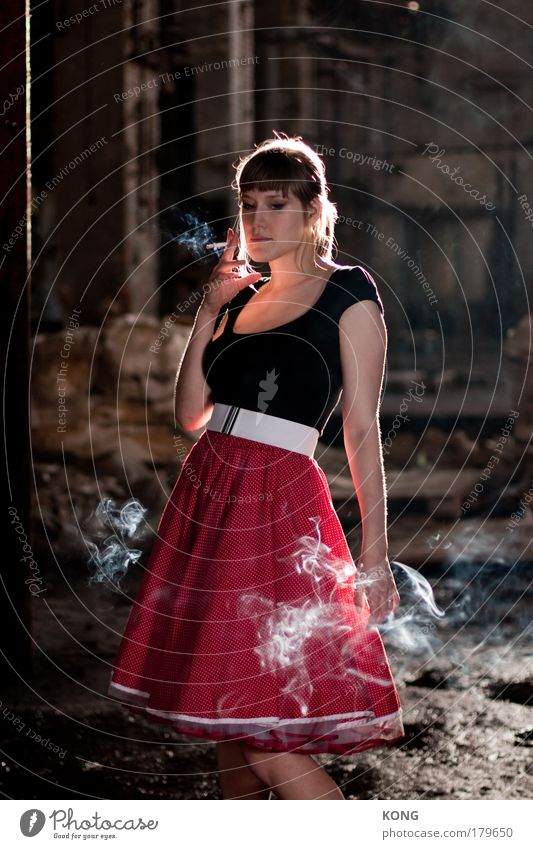 Human being Youth (Young adults) Adults Relaxation Feminine Dream Elegant Stand Cool (slang) 18 - 30 years Young woman Smoking Mysterious Strong Skirt Smoke