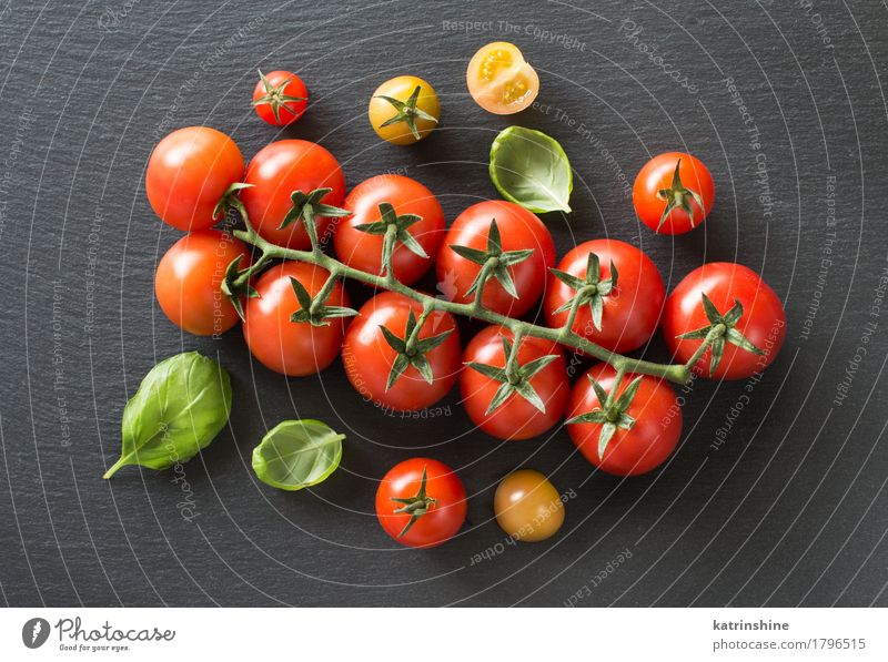 Fresh cherry tomatoes and basil Green Red Dark Natural Healthy Herbs and spices Vegetable Tradition Meal Vegetarian diet Diet Tomato Raw Ingredients Rustic