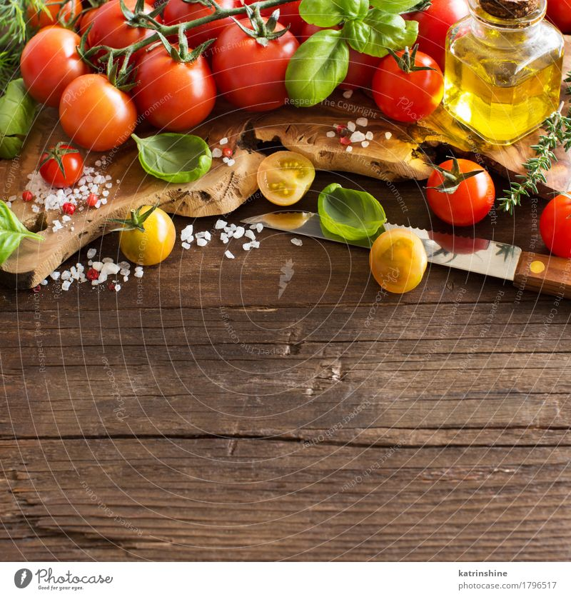 Cherry tomatoes, basil and olive oil Green Red Natural Healthy Food Brown Bright Fresh Herbs and spices Vegetable Bottle Meal Vegetarian diet Diet Tomato Raw