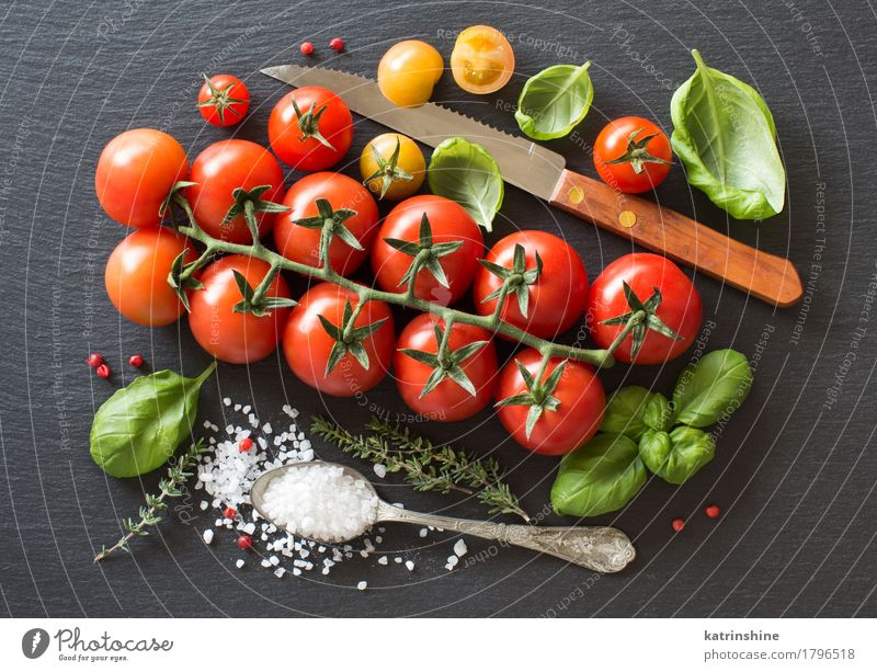 Cherry tomatoes, herbs and salt Green Red Dark Natural Healthy Bright Fresh Vegetable Bottle Meal Vegetarian diet Diet Tomato Spoon Raw Ingredients