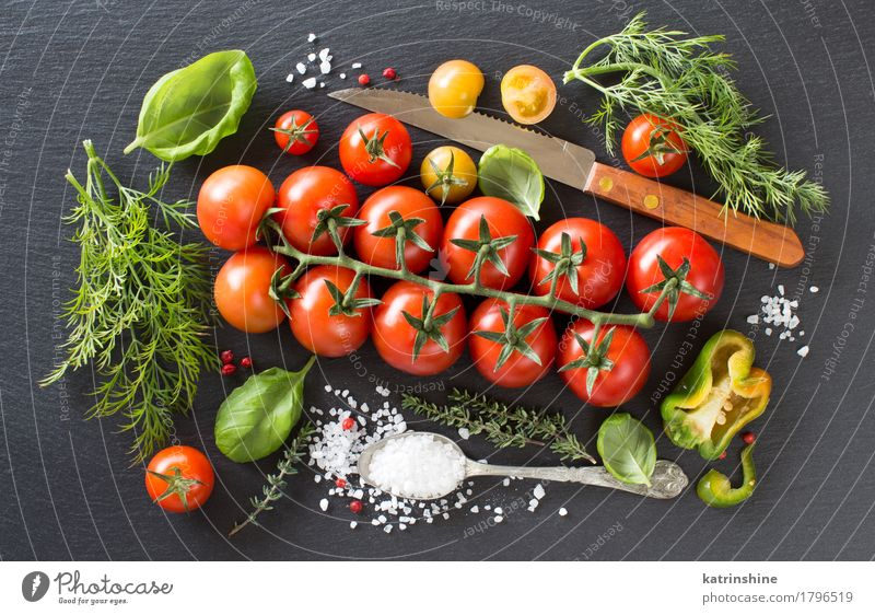 Cherry tomatoes, herbs and salt Green Red Dark Natural Healthy Bright Fresh Herbs and spices Vegetable Meal Vegetarian diet Diet Tomato Spoon Raw Ingredients
