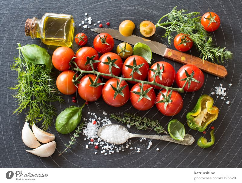 Cherry tomatoes, herbs and olive oil Green Red Dark Natural Healthy Bright Fresh Herbs and spices Vegetable Bottle Meal Vegetarian diet Diet Tomato Spoon Raw