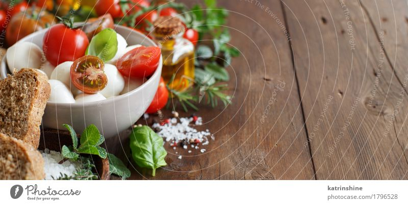 Italian ingridients for caprese salad Green Red Natural Healthy Brown Bright Fresh Herbs and spices Vegetable Bread Bowl Bottle Meal Vegetarian diet Diet Salad