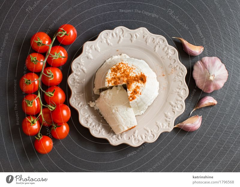 Italian ricotta cheese, garlic and cherry tomatoes Cheese Dairy Products Vegetable Nutrition Diet Italian Food Plate Dark Fresh Red White Cooking Creamy