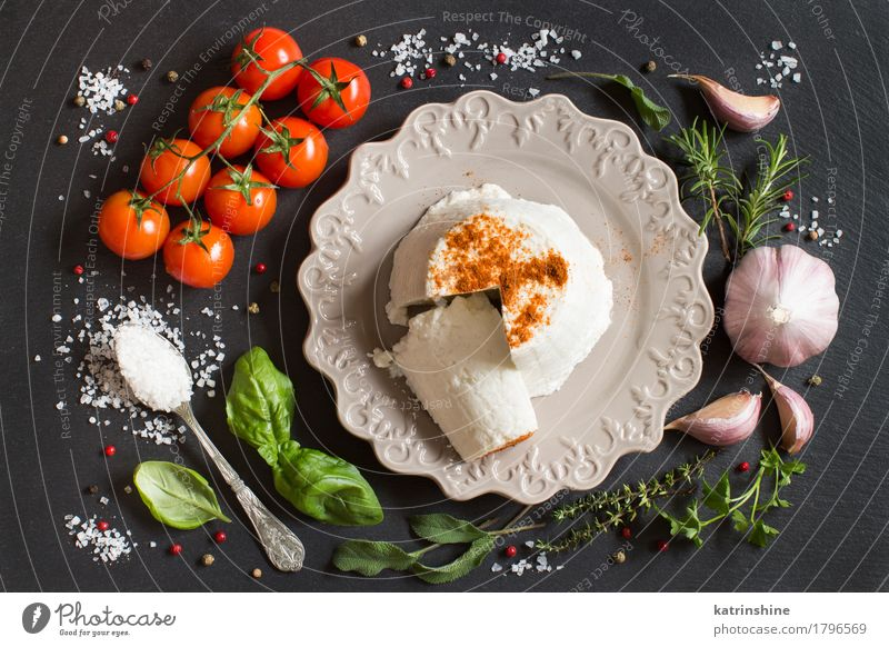 Italian ricotta cheese, vegetables and herbs Cheese Dairy Products Vegetable Herbs and spices Nutrition Diet Italian Food Plate Spoon Dark Fresh Soft Green Red