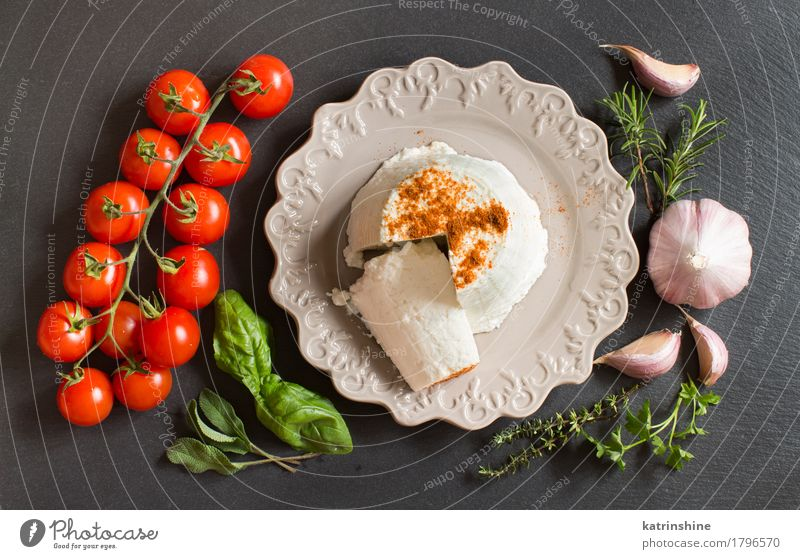 Italian ricotta cheese, vegetables and herbs Cheese Dairy Products Vegetable Herbs and spices Nutrition Diet Italian Food Plate Dark Fresh Soft Green Red White